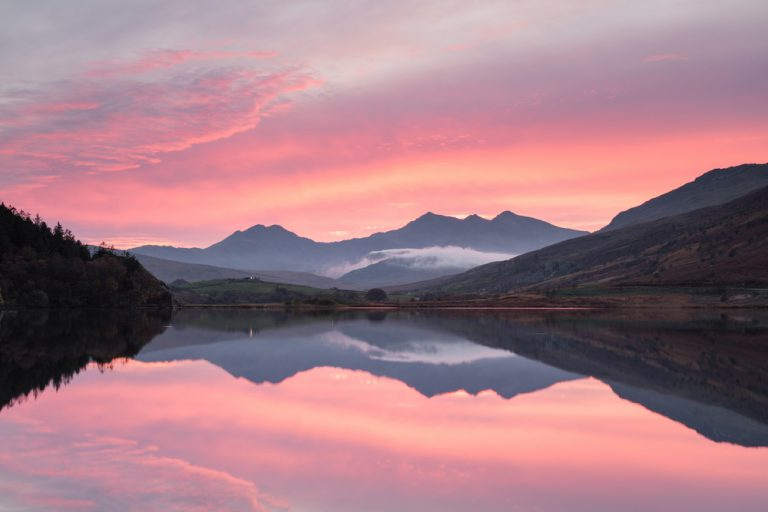 Snowdon sunset from Llynnau Mymbyr