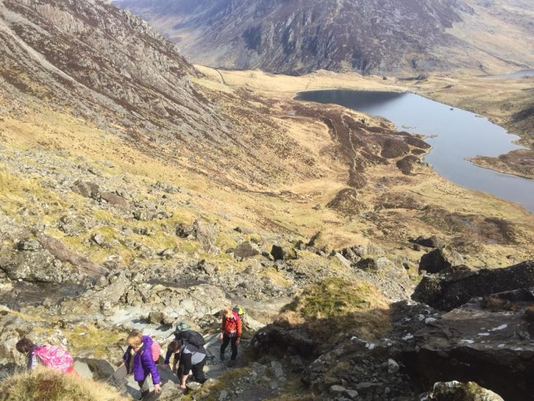 Heading up 'Devils Kitchen' on the Hillwalking Workshop