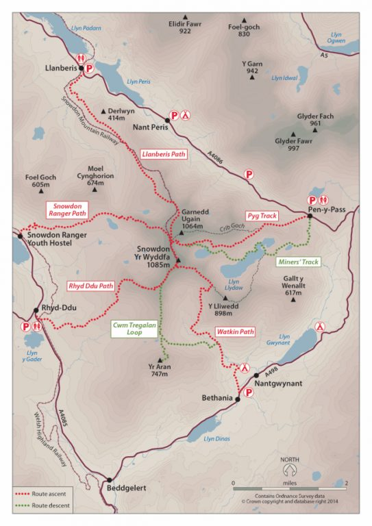Snowdon Routes - Snowdon Route Map