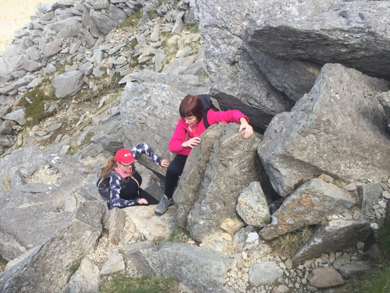 Heading up Tryfan on the Discover Scrambling course.