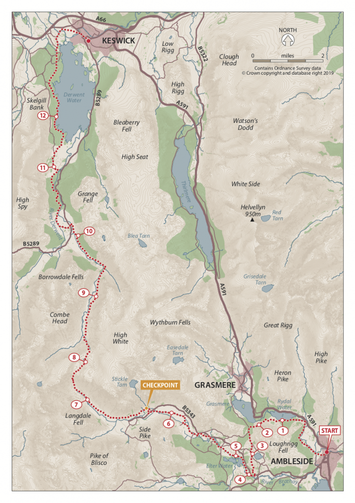 Ambleside to Keswick Map